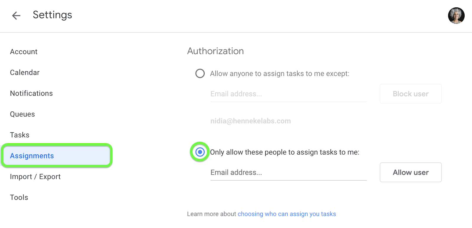 Whitelist team members for Assigning you tasks
