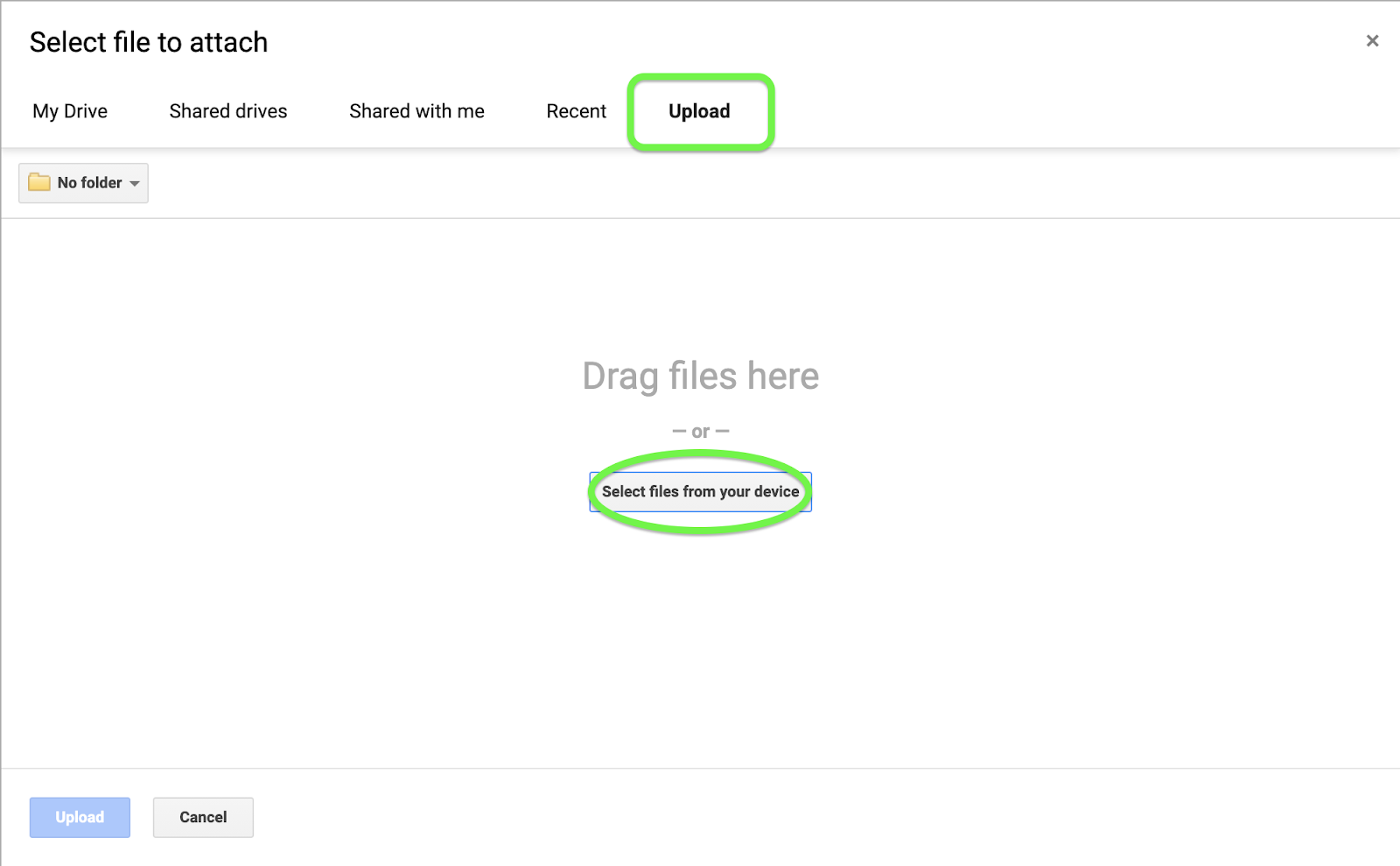 Upload a file from your device and attach to a task