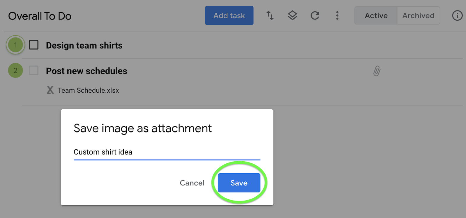 Name your file and save to attach the file to a task