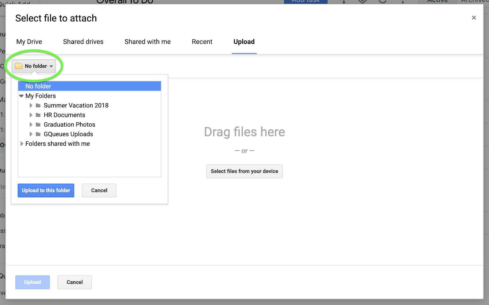 Choose a Drive folder to attach a file to your task