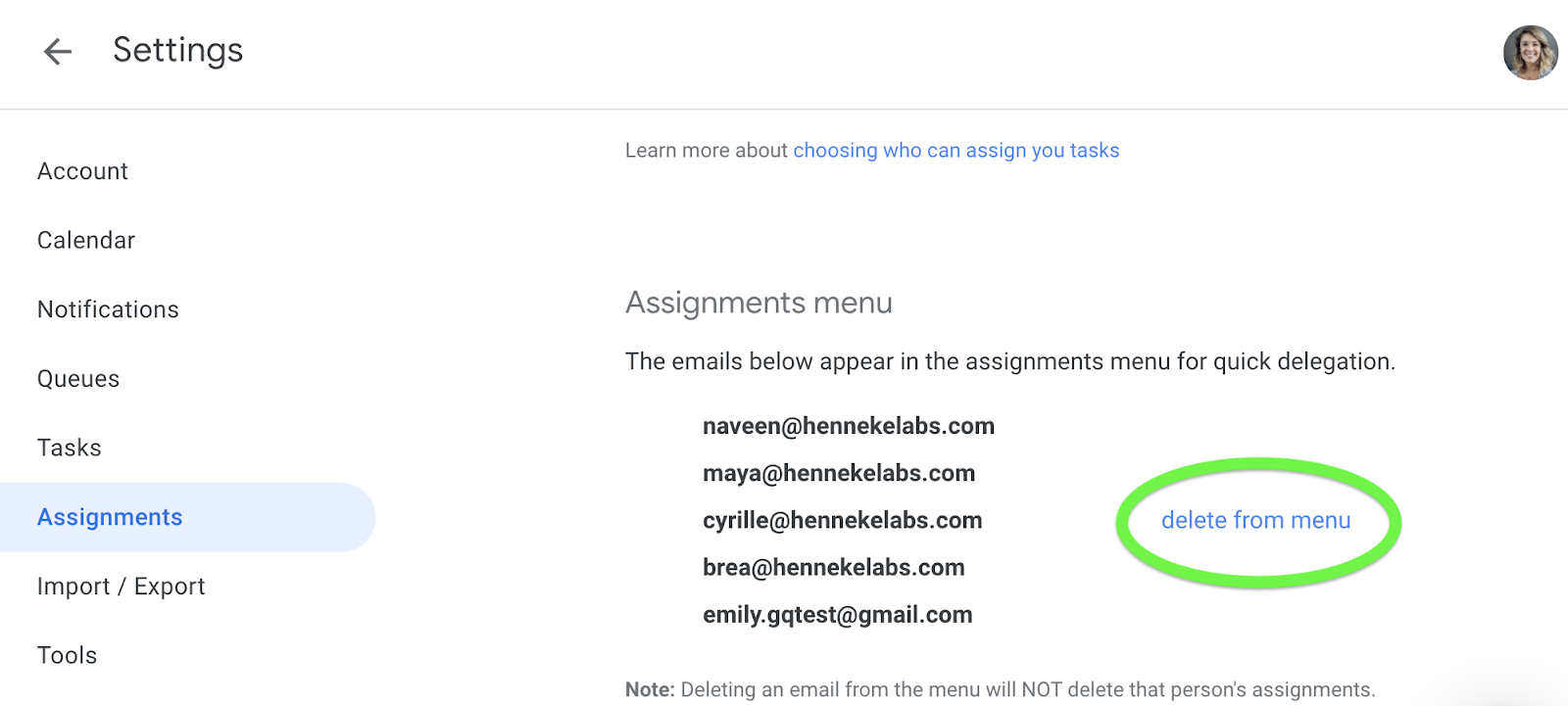 Assignments menu in GQueues settings with option to delete user from menu