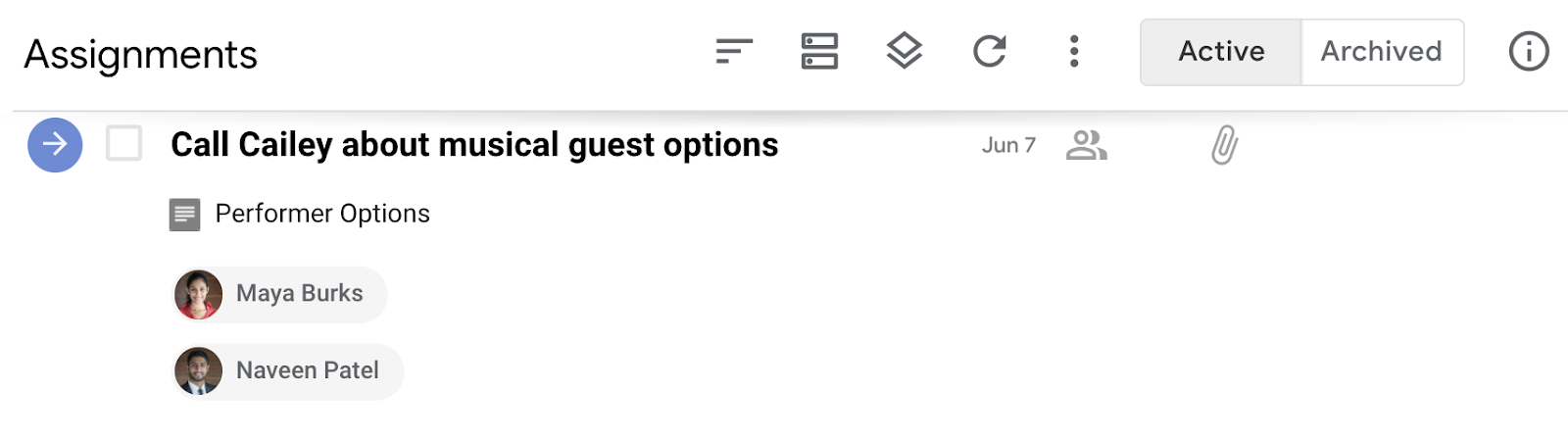 Assigned tasks in the Assignments queue in GQueues