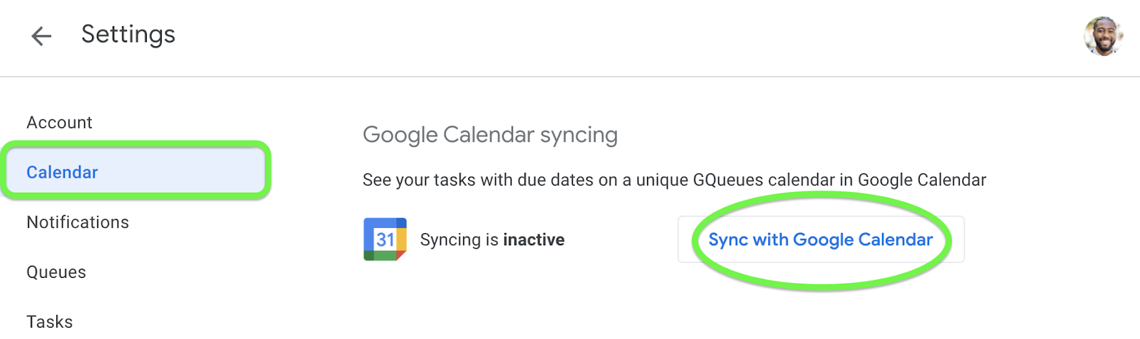 Activate Google Calendar syncing from Settings.