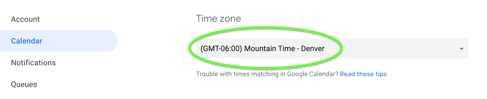 Change your time zone from GQueues settings.