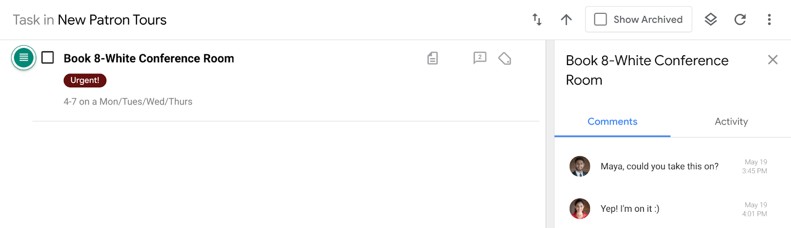 Comment added to task after replying to email notification