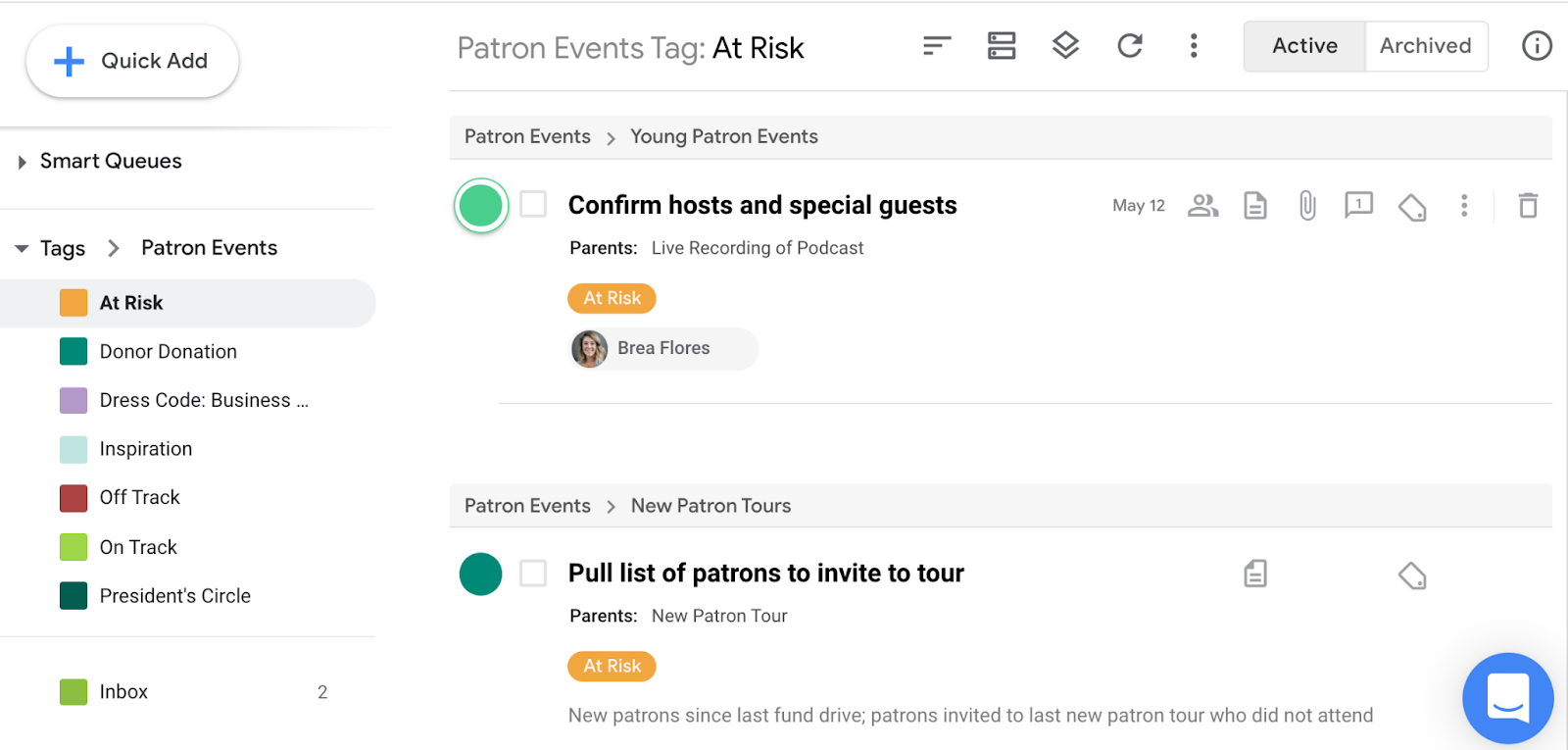 View team tasks with a tag by clicking that tag from the lefthand panel