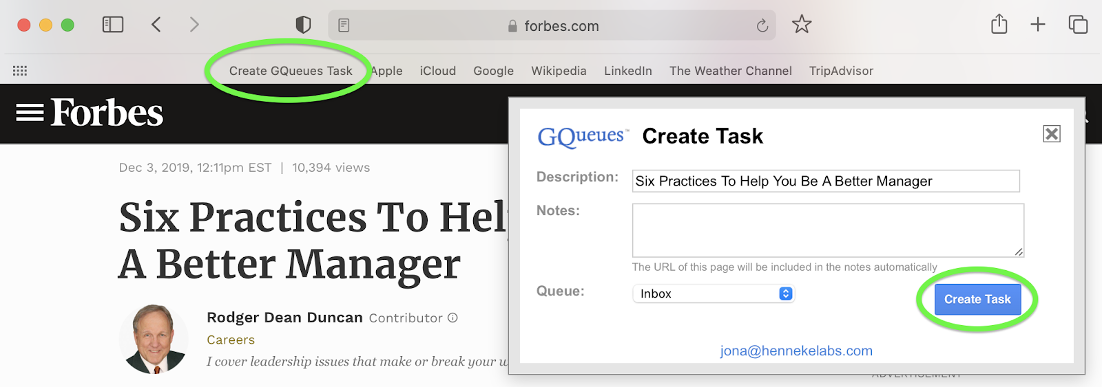 Create a task from your browser with the Bookmarklet.