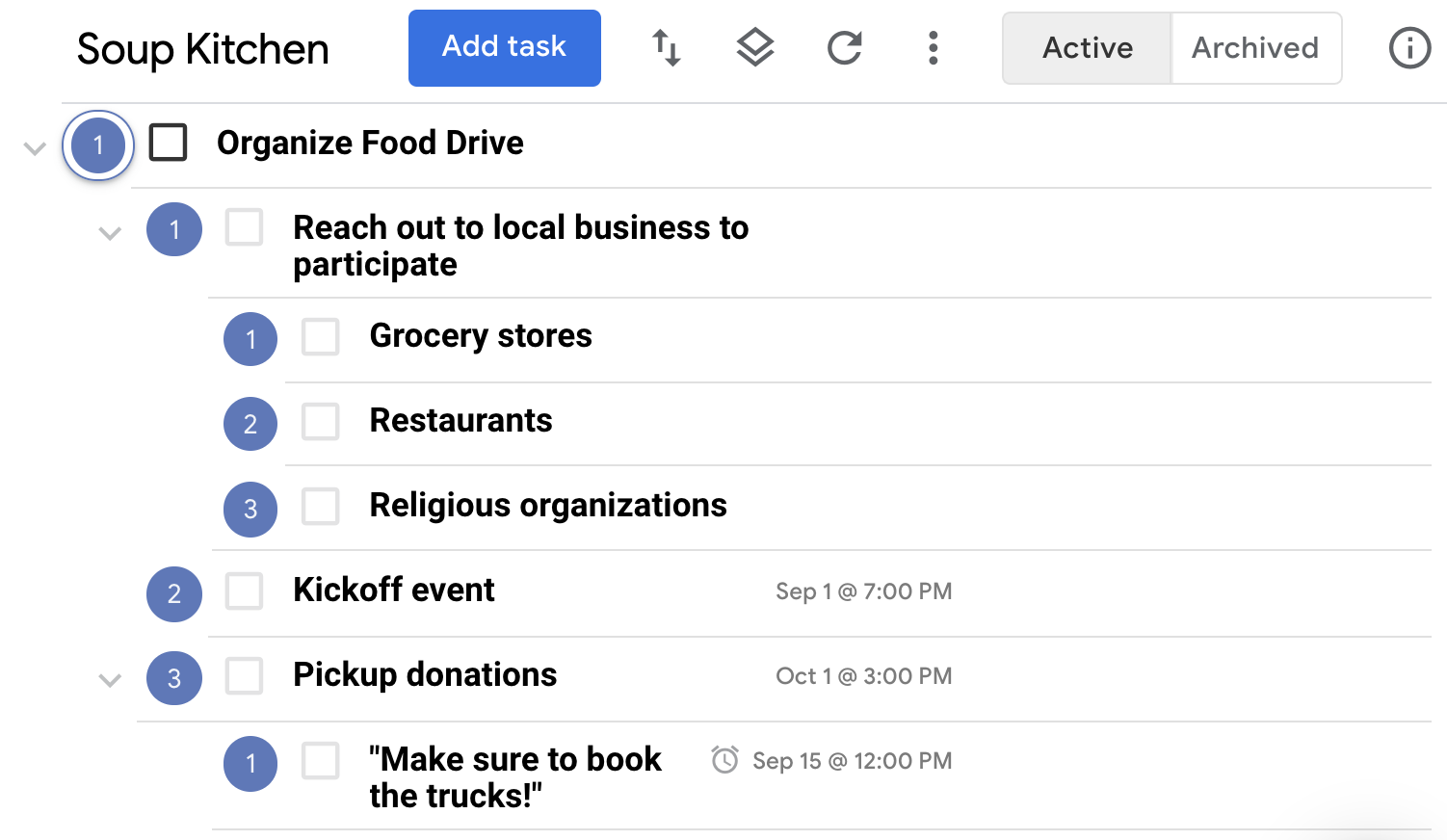 Tasks created from the Quick Add Window