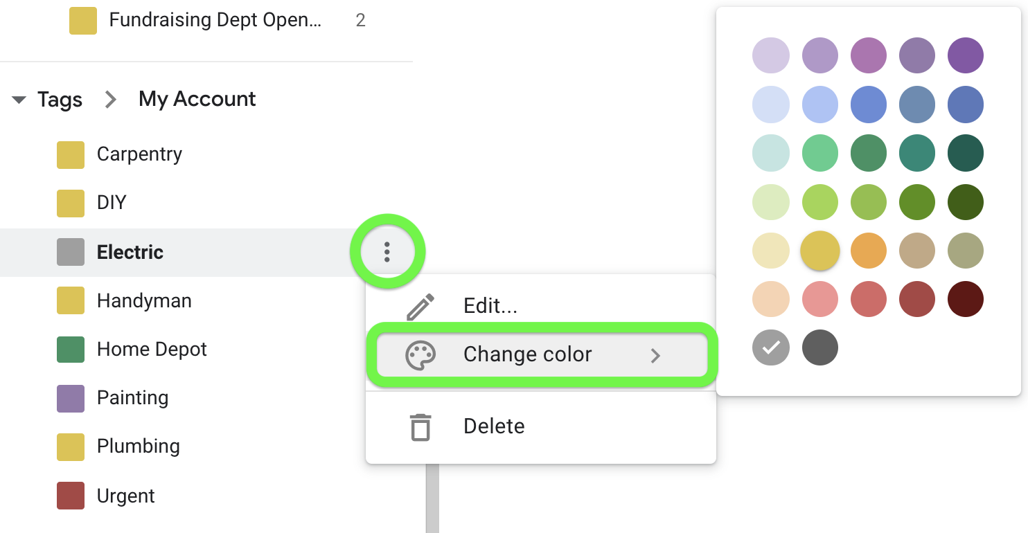 Change tag color from the tag block in the lefthand panel