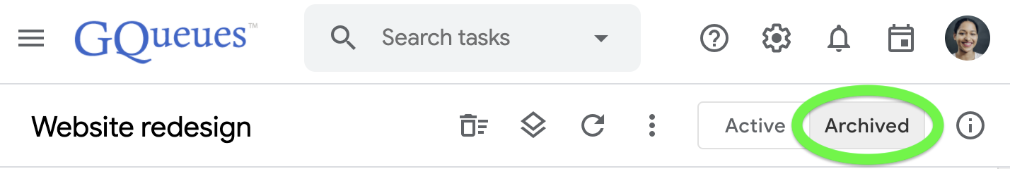 View archived tasks for a queue by toggling to the Archived tab