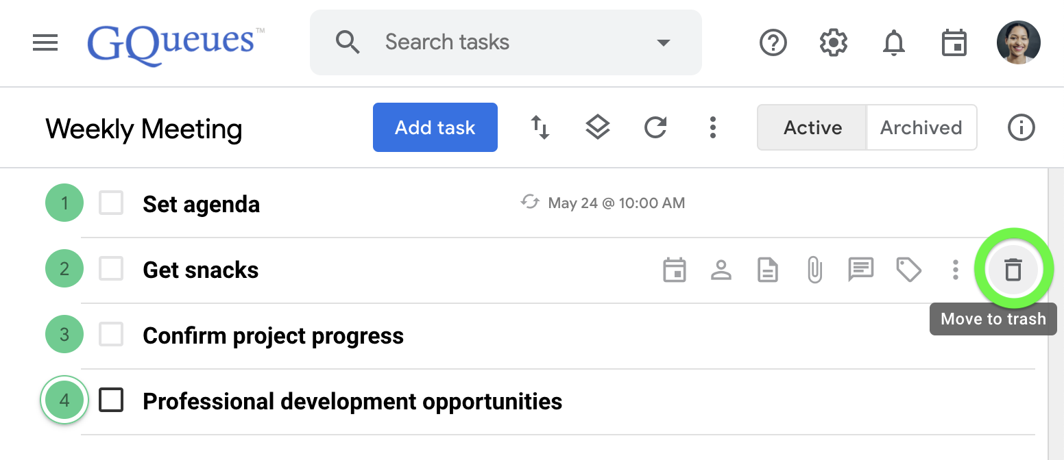 Delete a task by clicking the trash icon