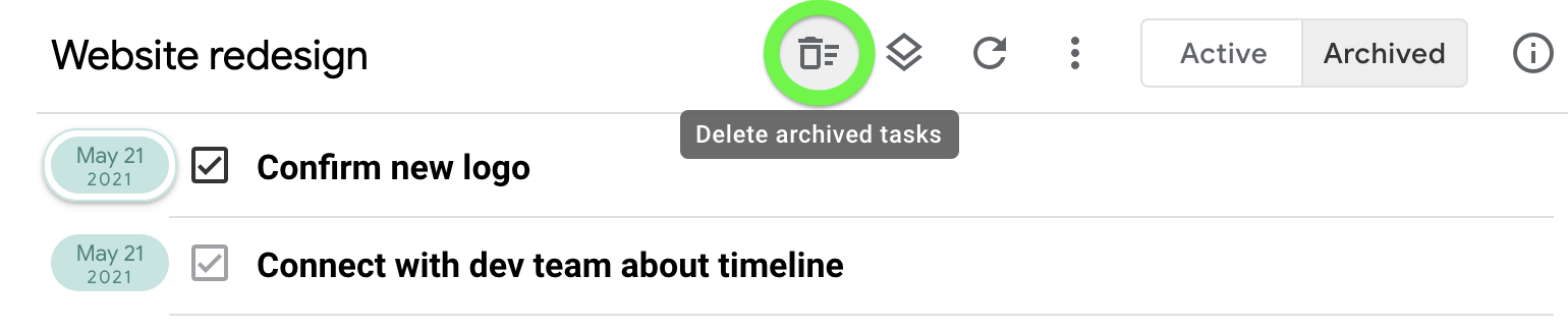 Delete all archived tasks for a queue