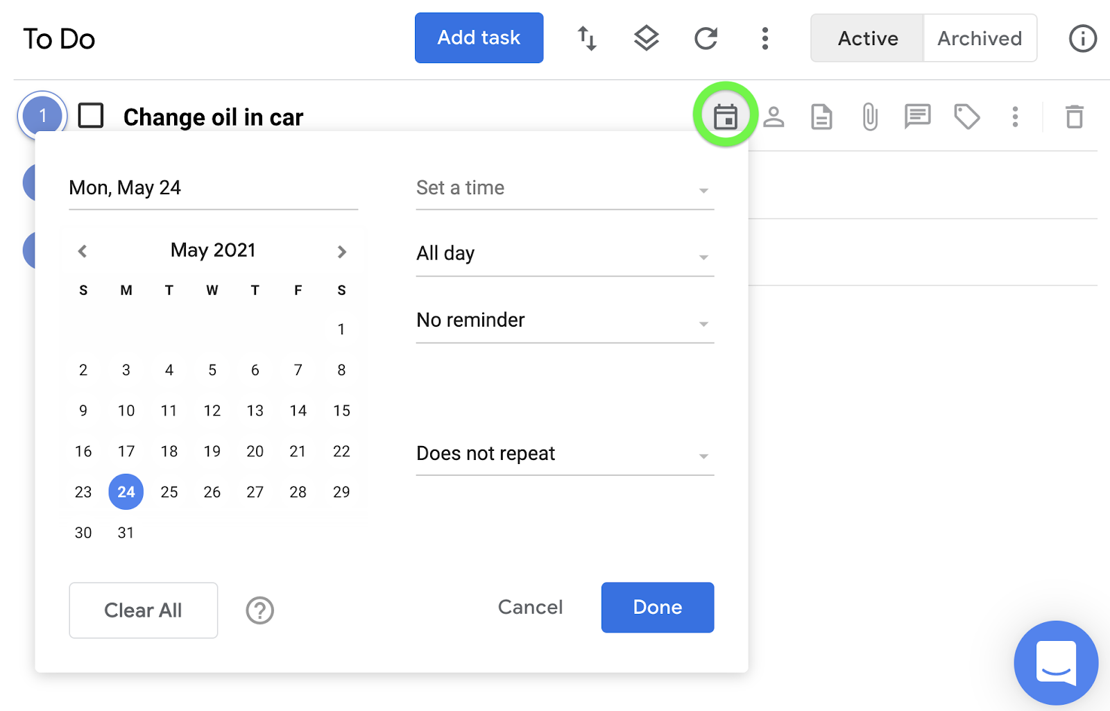 Set a date for a task by clicking the calendar icon