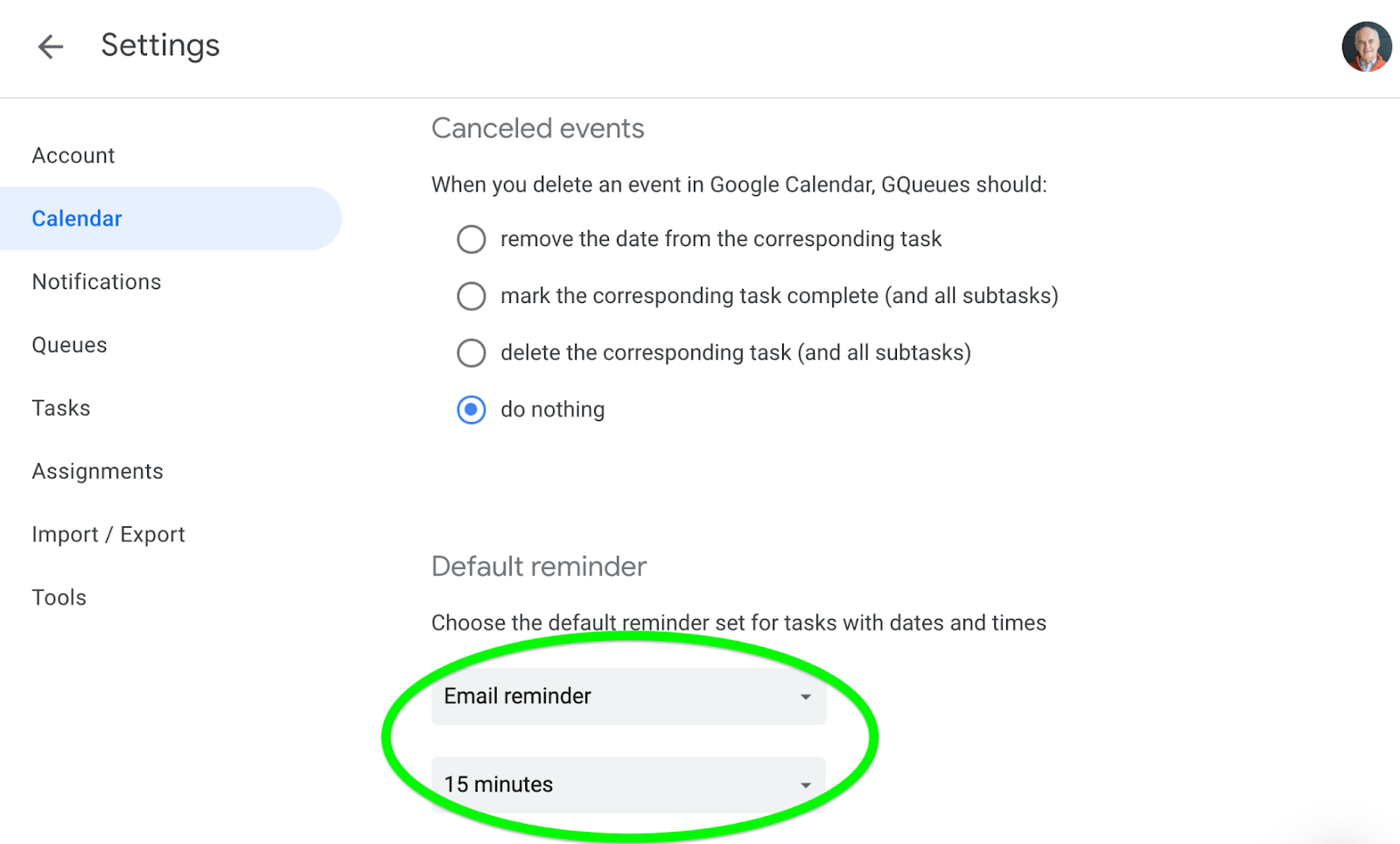 Set default reminder for any newly created tasks from your settings