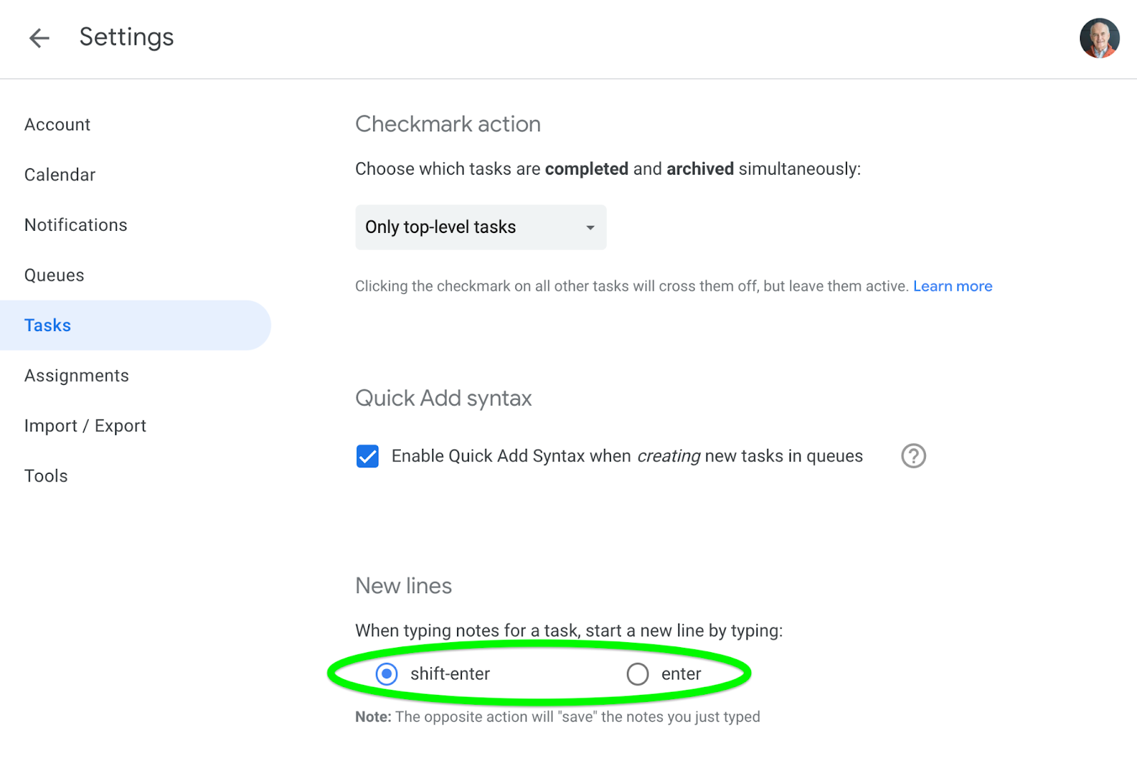 Set whether Enter or Shift + Enter adds a new line in task notes