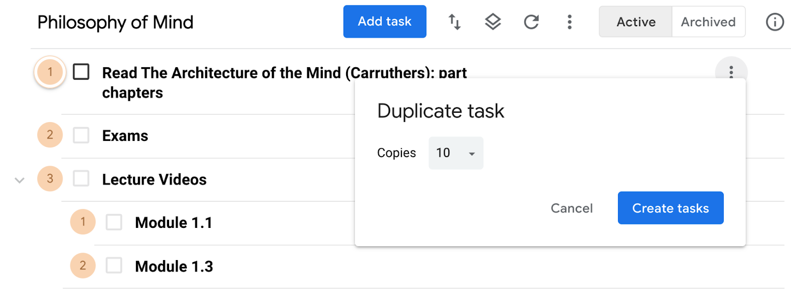 Duplicate one task many times