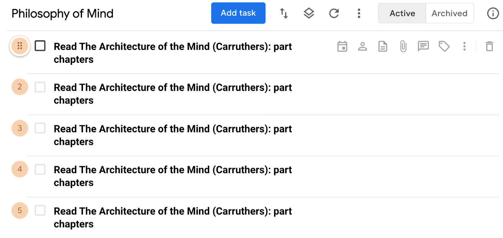 Copies of duplicated task