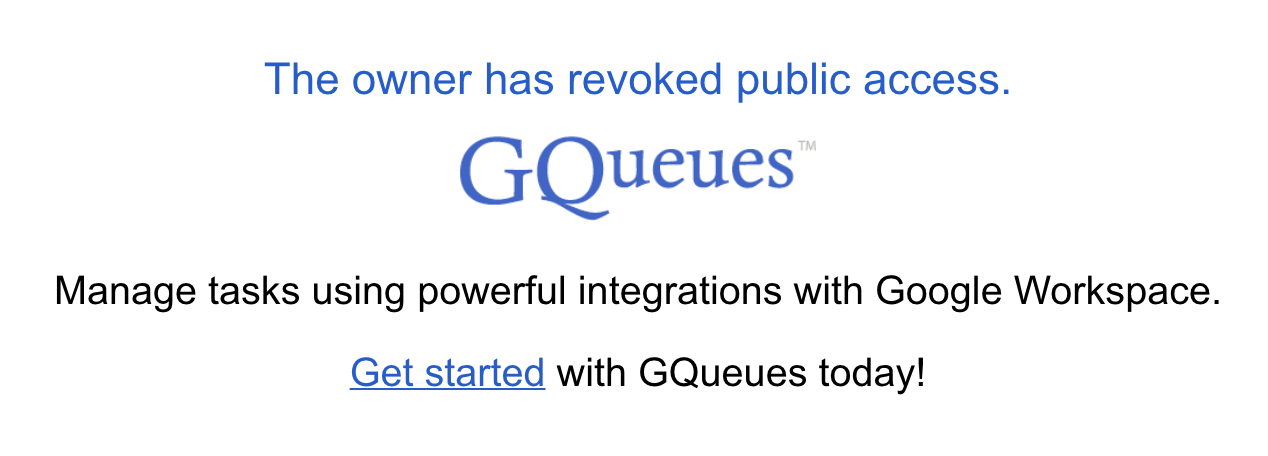 Message users will see if they attempt to view a queue that is no longer published