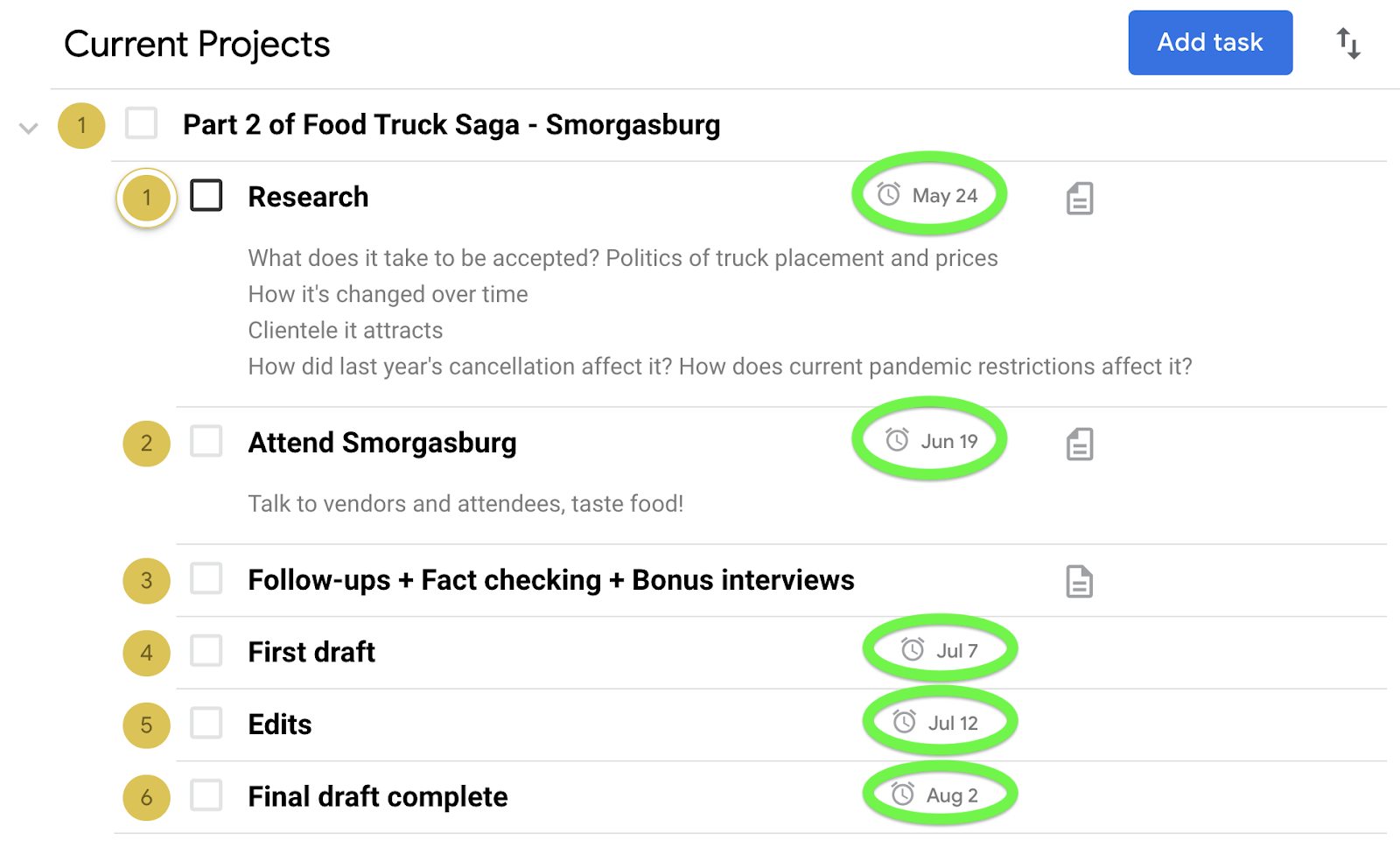 Use subtasks to set check-in dates for the main task