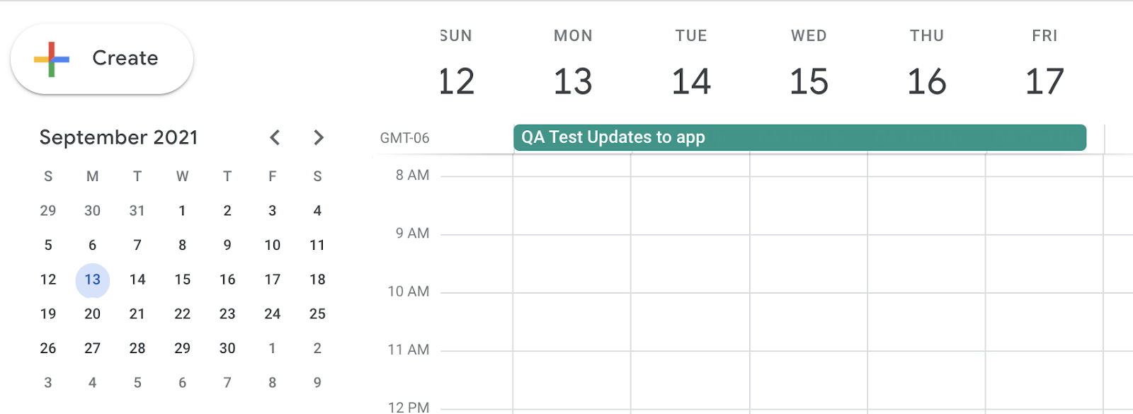 Task that's set for a 5-day duration when viewed in Google Calendar
