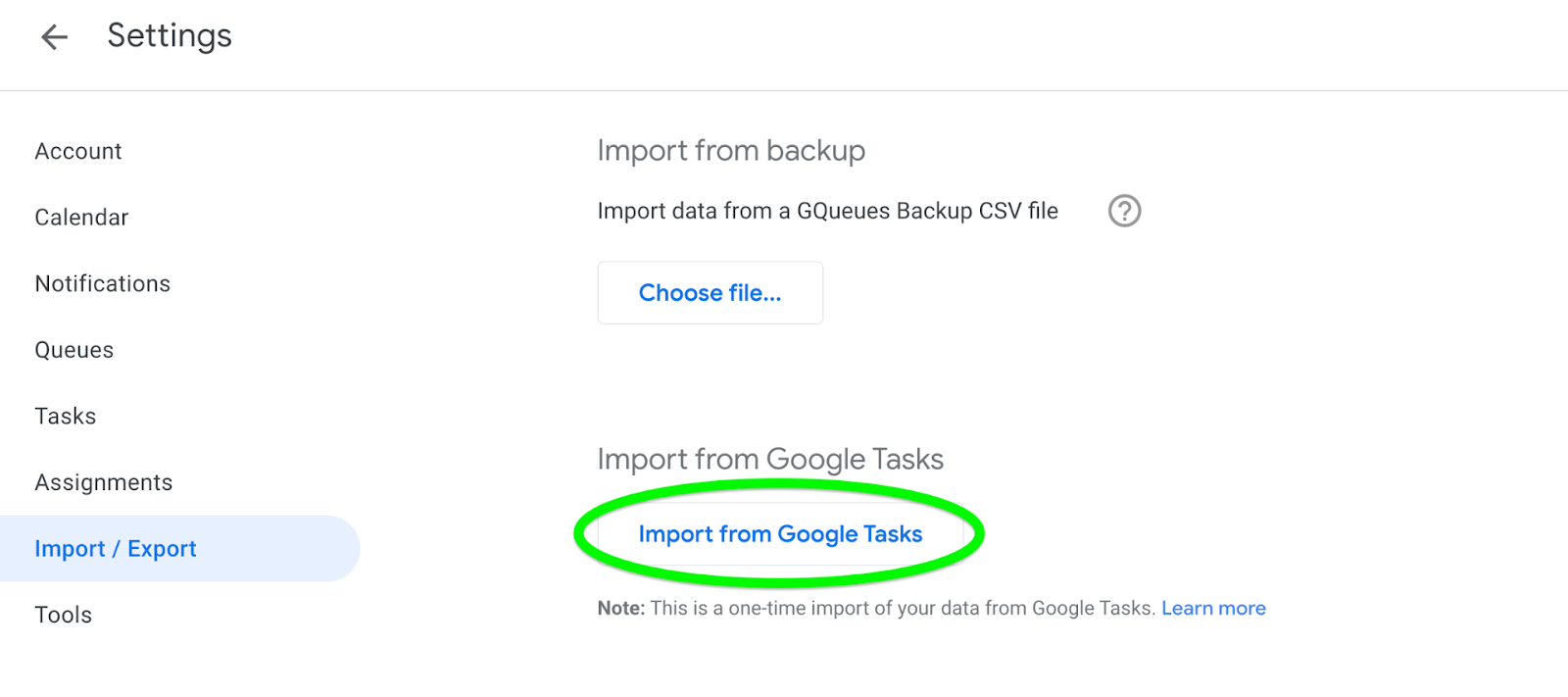 Select Import from Google Tasks from GQueues Settings