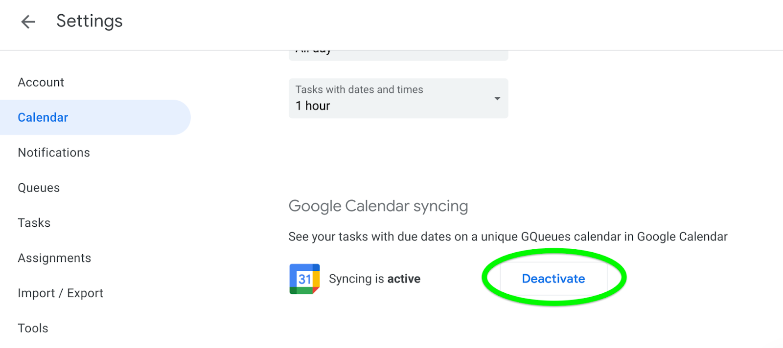 Deactivate calendar syncing for your account from your GQueues settings